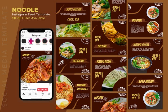 Thumbnail for Noodles - Food Instagram Post Template