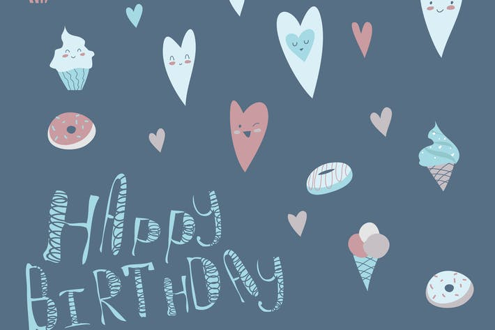 Thumbnail for Birthday design with hearts and cupcakes. Vector