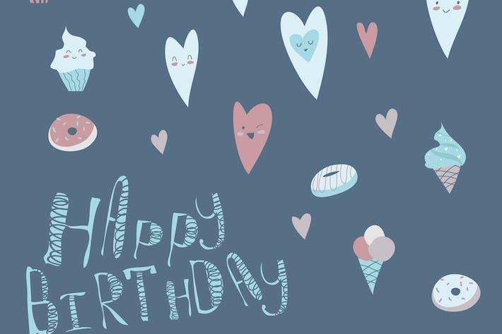 Cover Image For Design d'anniversaire avec des cœurs et des cupcakes. Vecteur