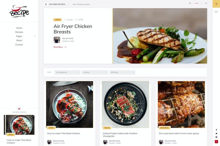Becipe - Recipe Blogging WordPress Theme
