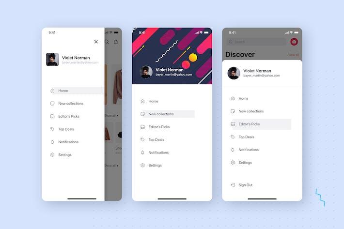 Thumbnail for Menu - Navigation UI Mobile Template