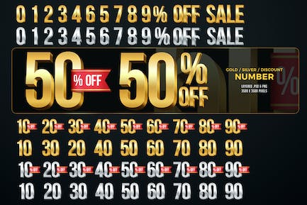 Gold / Silver Numbers Discount Numbers