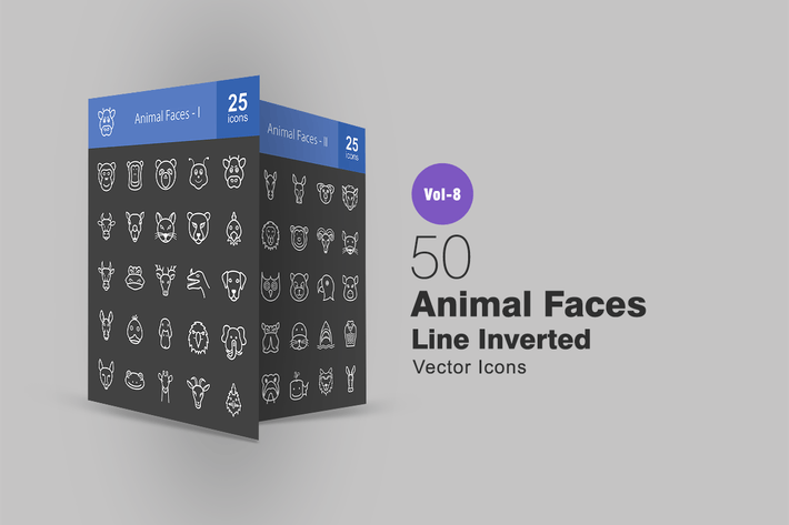 Thumbnail for 50 Animal Faces Line Inverted Icons