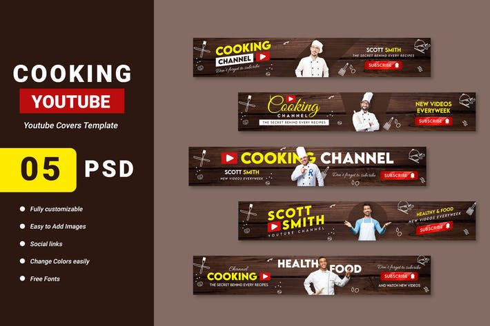 Cooking Blog Channel Youtube Banner Template