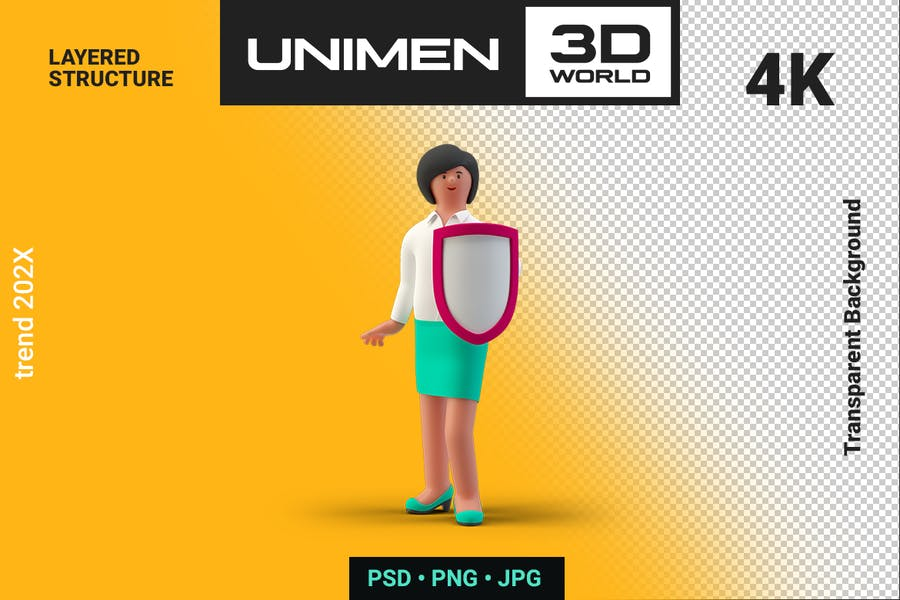 Businesswoman 3D Standing with Shield Defense