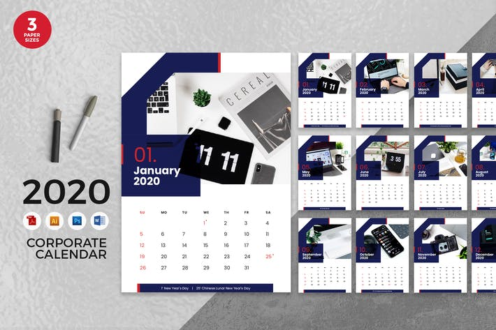 Thumbnail for Calendrier Entreprise Business 2020 - AI, DOC, PSD