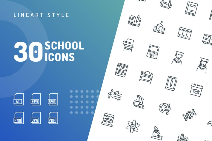 Thumbnail for School Line Icons