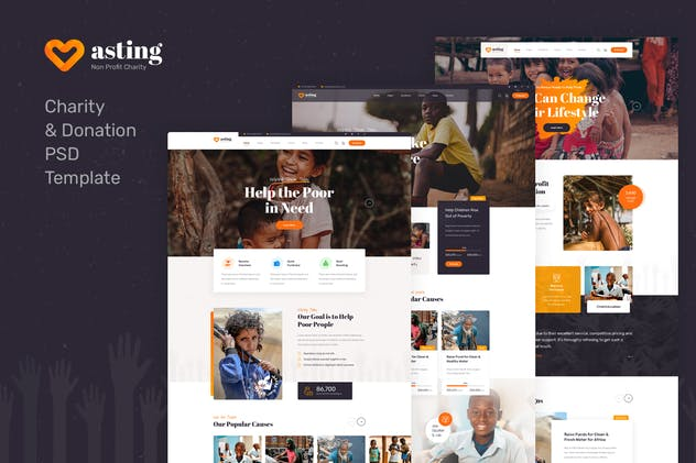 Asting - Charity & Donation PSD Template