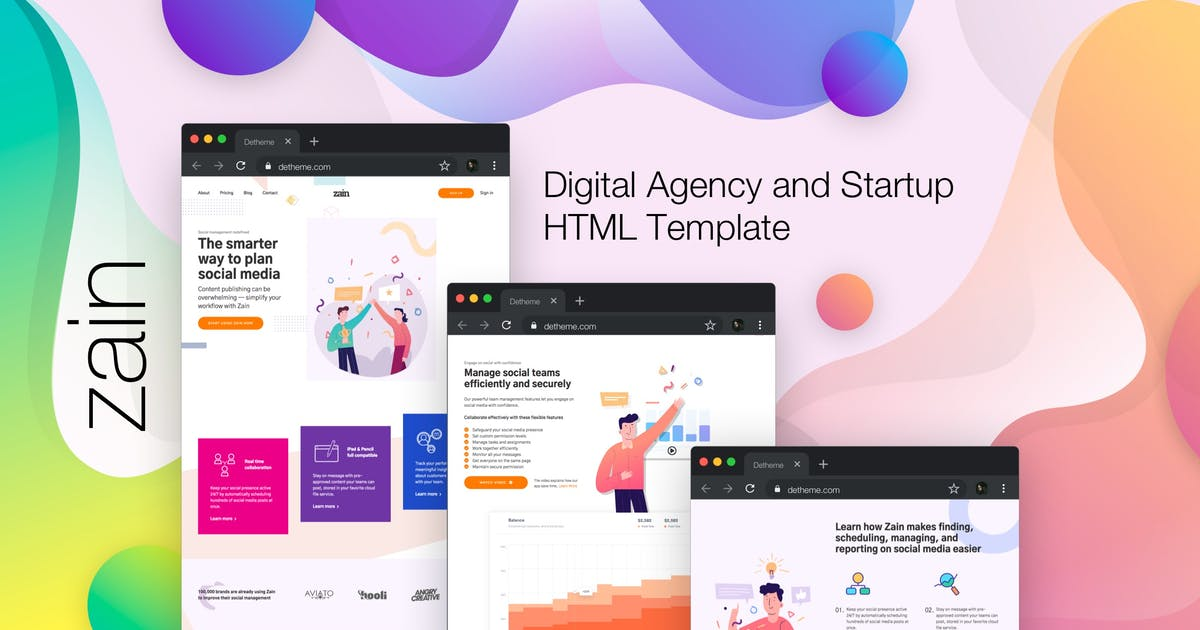 Download Zain - Digital Agency and Startup HTML Template by deTheme
