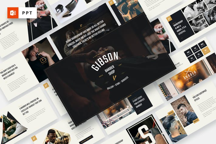 Thumbnail for GIBSON - Barbershop & Shaving Powerpoint Template
