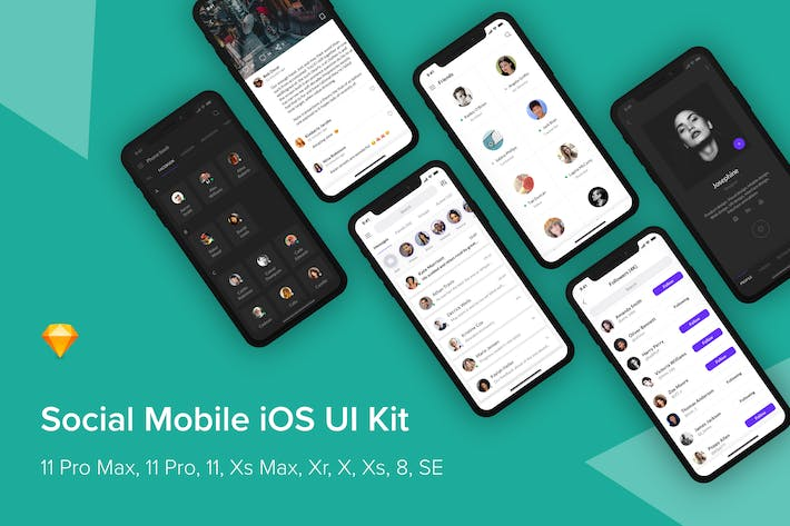 Thumbnail for Social Mobile iOS UI Kit (Sketch)