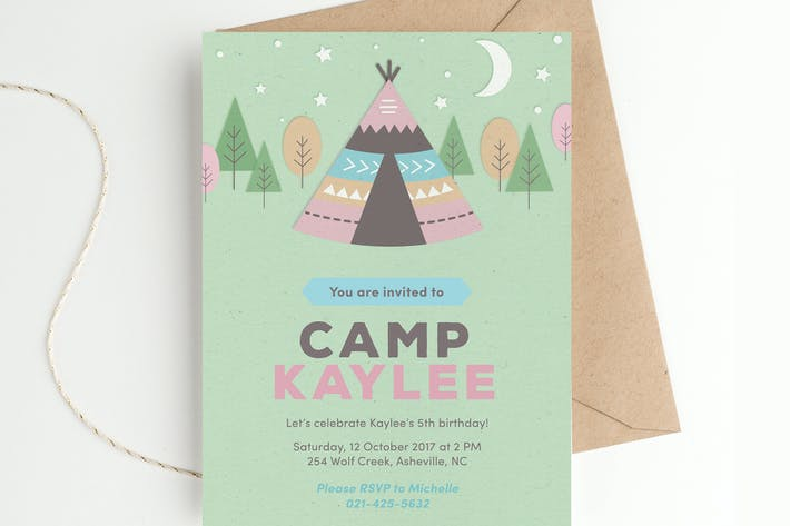 Thumbnail for Camping Birthday Party Invitation