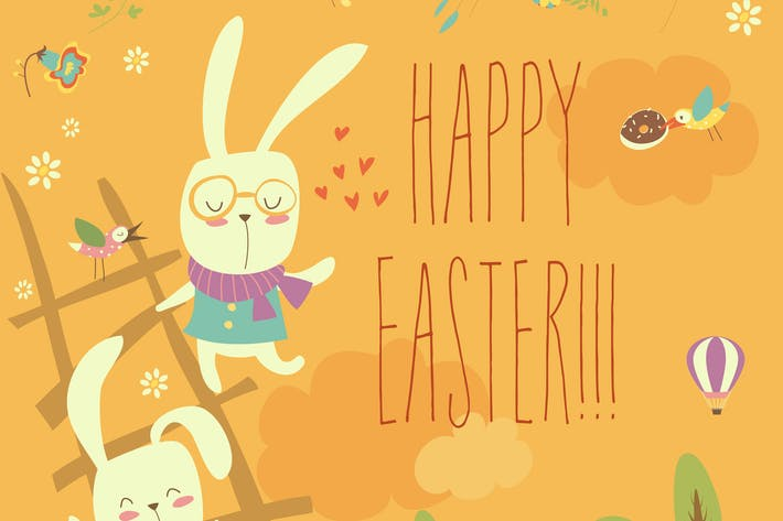Funny easter bunnies with ladder. Vector