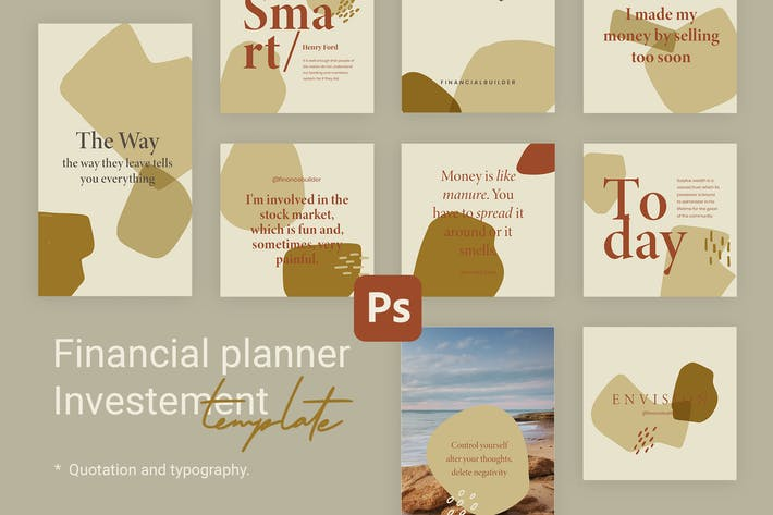Thumbnail for Editable Quotes Instagram Templates for Finance V2
