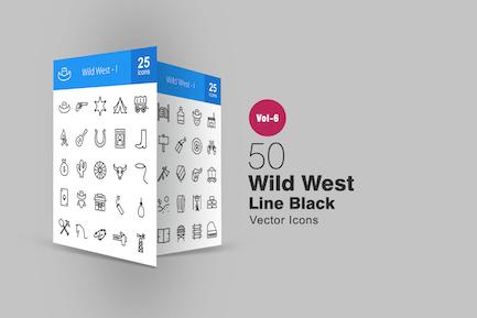 50 Icons der Wild-West-Linie