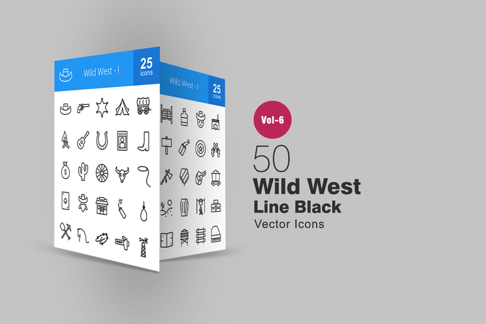 Thumbnail for 50 Wild West Line Icons