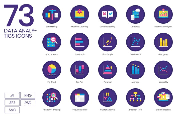 Thumbnail for 73 Big Data & Analytics Icons | Orchid Serie
