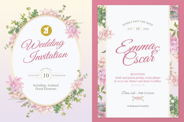 Thumbnail for Pink Succulent Watercolor Wedding Invitation