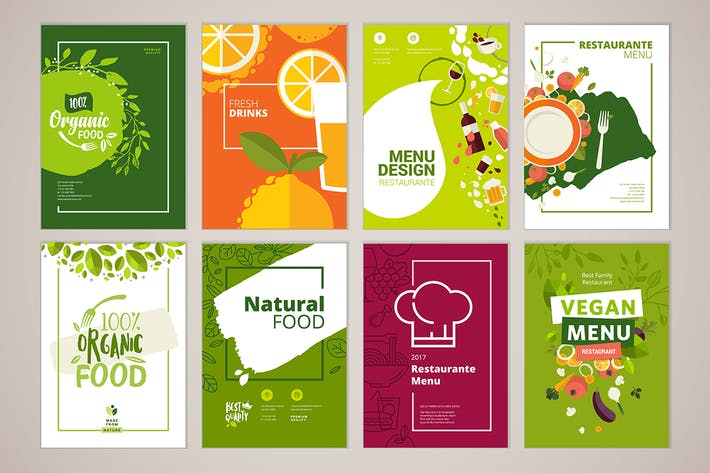 Thumbnail for Set of restaurant brochure and menu templates