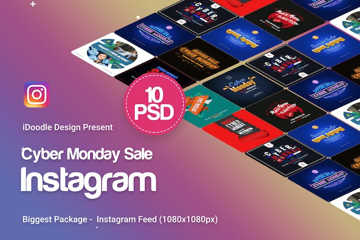 Thumbnail for Cyber Monday Instagram Banners Ad - 10 PSD
