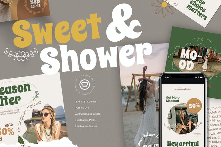 Thumbnail for Sweet And Shower Instagram Pack