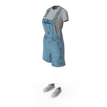 Womens Jean Overall Tshirt Shoes