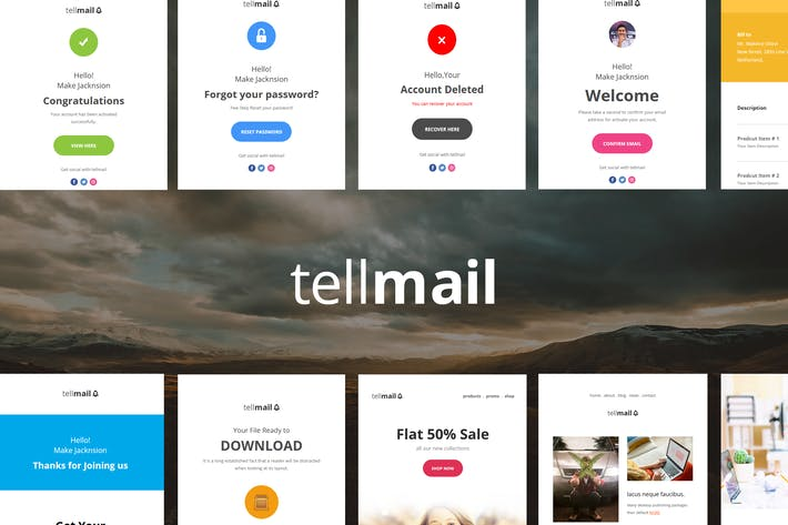 Thumbnail for tellmail - 20 Unique Responsive Email Set