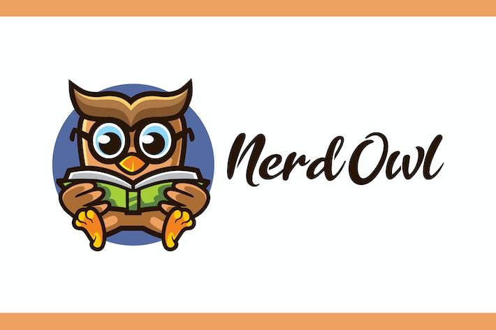 Thumbnail for Cartoon Nerd Owl Mascot Logo