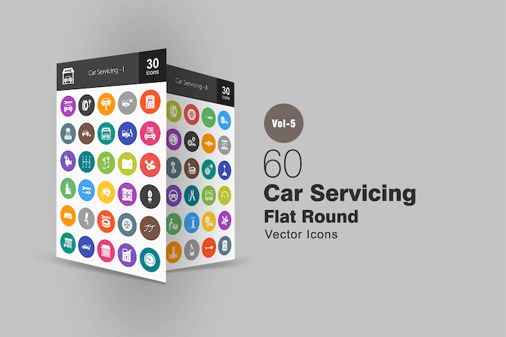Thumbnail for 60 Car Servicing Flat Round Icons