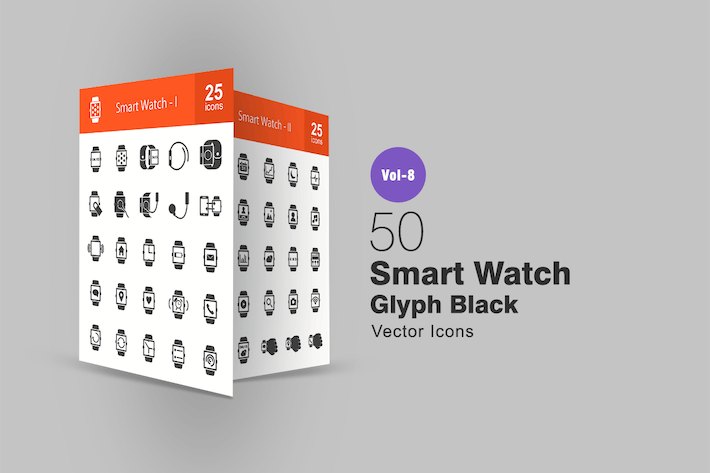 Thumbnail for 50 Smart Watch Glyph Icons