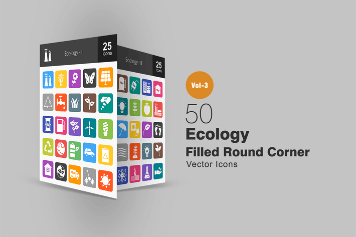 Thumbnail for 50 Ecology Flat Round Corner Icons
