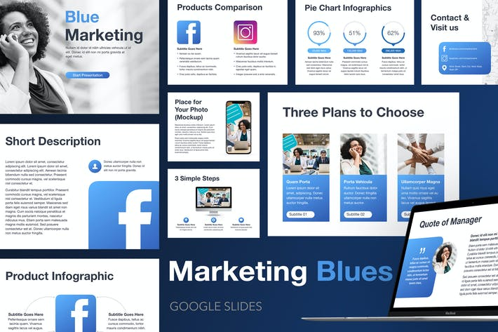 Thumbnail for Маркетинговые синие слайды Google
