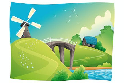 Countryside with windmill