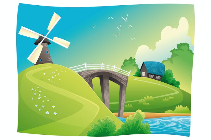 Thumbnail for Countryside with windmill