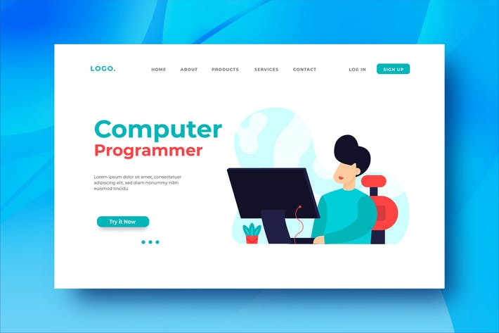 Thumbnail for Computer Programmer Landing Page Illustration