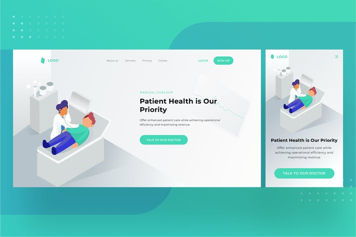Thumbnail for Medical Landingpage UI with illustration 1.6