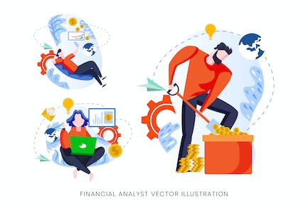Financial Analyst Vector Character Set
