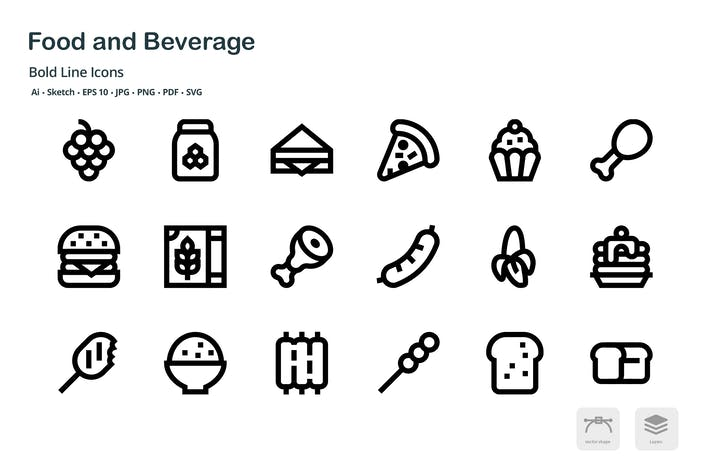 Thumbnail for Food and Beverage Mini Bold Line Vector Icons