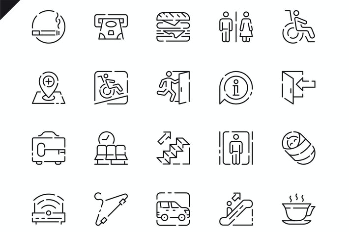 Thumbnail for Simple Set Public Navigation Line Icons