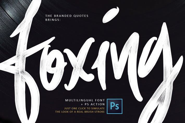 Thumbnail for Foxing Font + PS Action