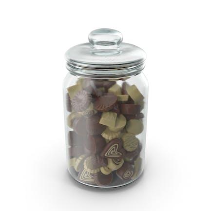 Jar with Truffle Chocolate Candy