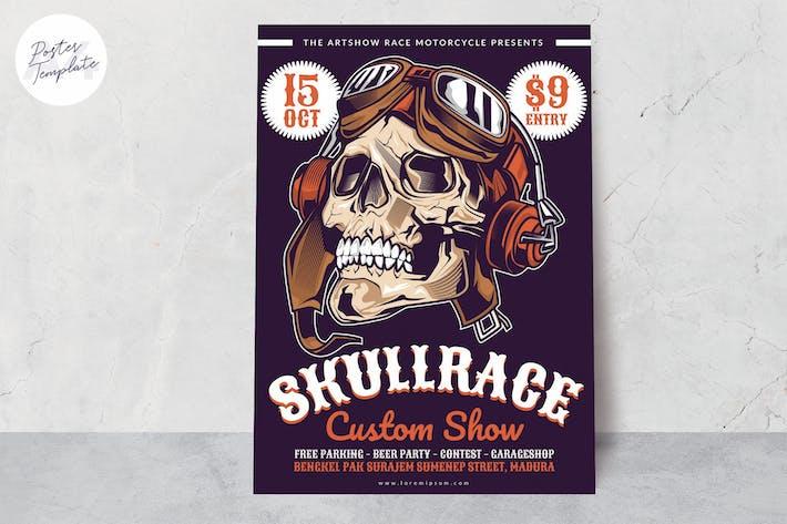 Thumbnail for Skull Race Motorbike Poster Template