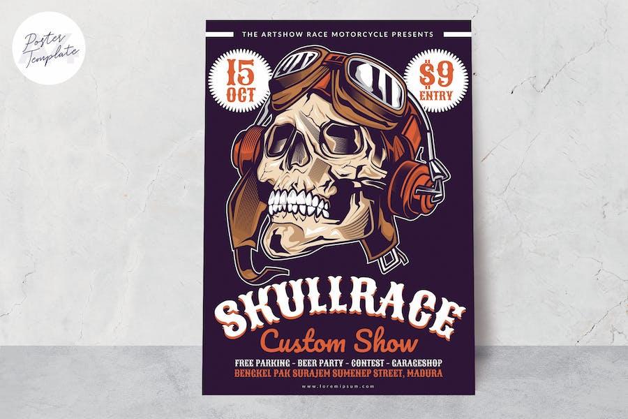 Skull Race Motorbike Poster Template