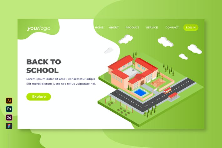 Thumbnail for Back to School - Isometric Landing Page