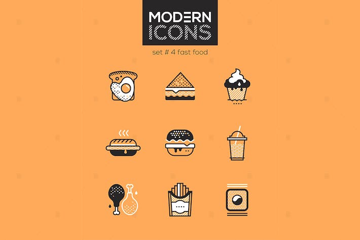 Thumbnail for Fast food - set of line design style icons