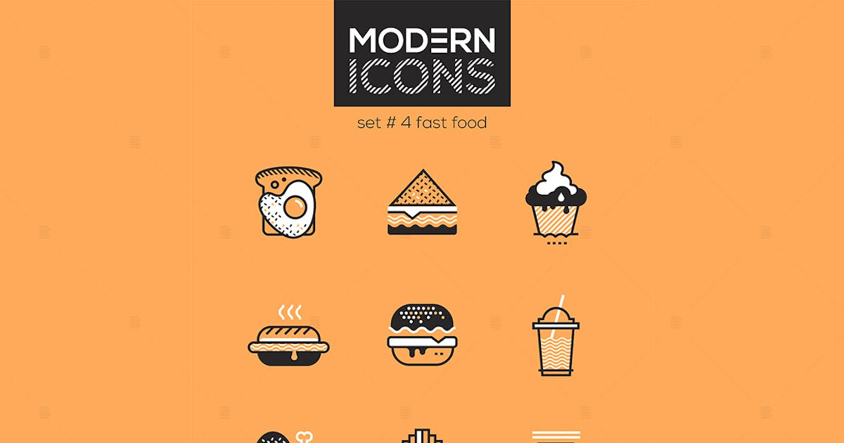 Download Fast food - set of line design style icons by BoykoPictures