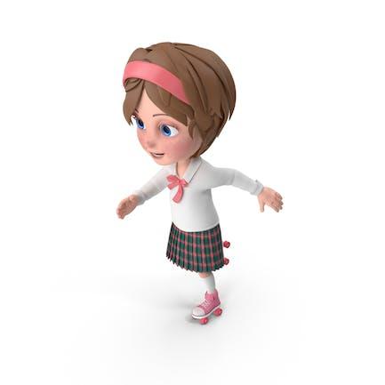 Cartoon Mädchen Meghan Skating
