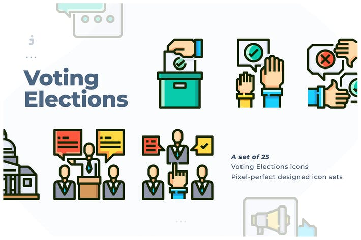 Thumbnail for 25 Voting Elections Icon set