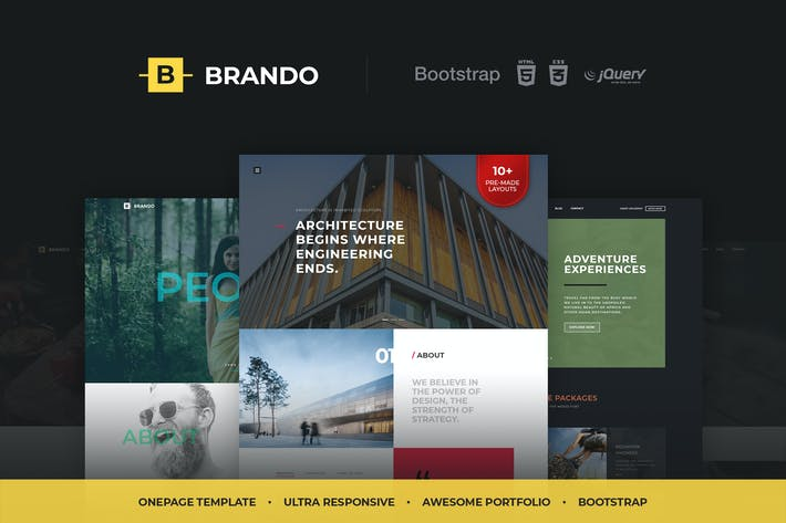 Thumbnail for Brando Responsive & Multipurpose OnePage Template