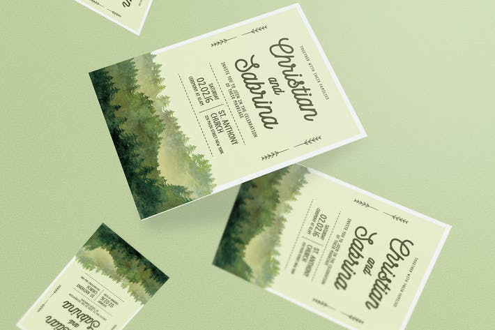 Thumbnail for Watercolor Forest Wedding Invitation